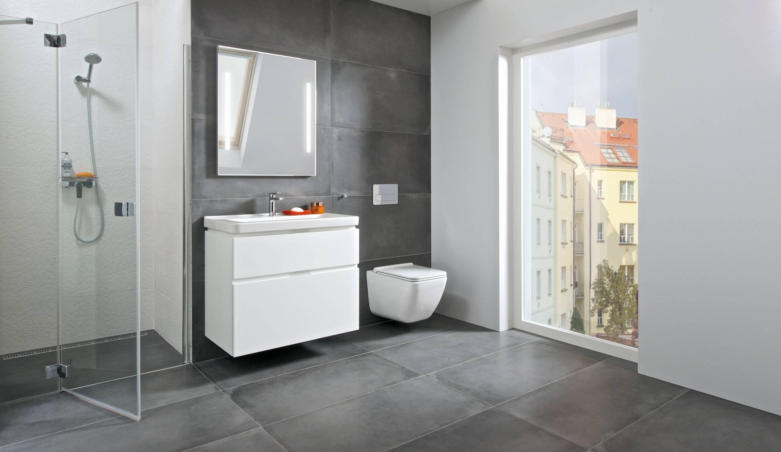 minimalismus, koupelna, minimalistický nábytek, lakovaný nábytek, dřevodekor, JIKA, koupelna, koupelny